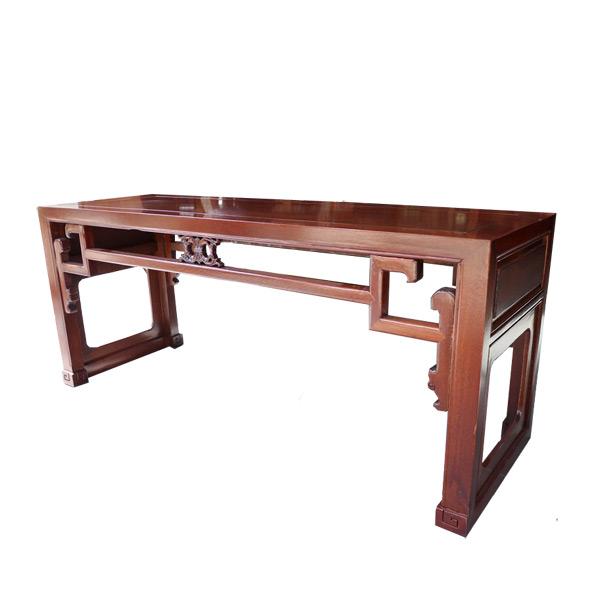 โต๊ะไม้ทรงเตี้ยแต่งลายโปร่งสไตล์จีน 120 ซม.
