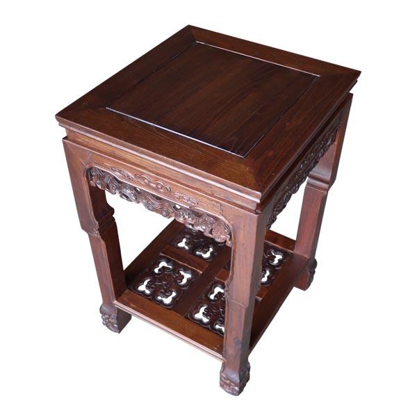 โต๊ะข้างไม้ขาสิงห์แกะสลักลวดลายจีน 48 ซม.