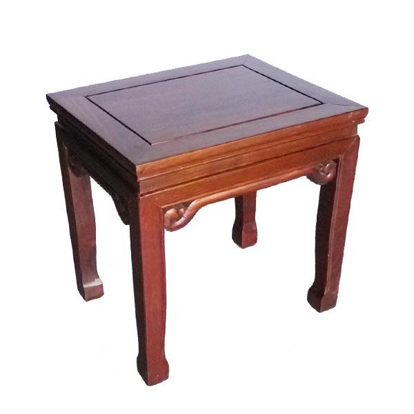 โต๊ะข้างไม้ขอบบัวแกะลายม้วนแบบจีน 50 ซม.