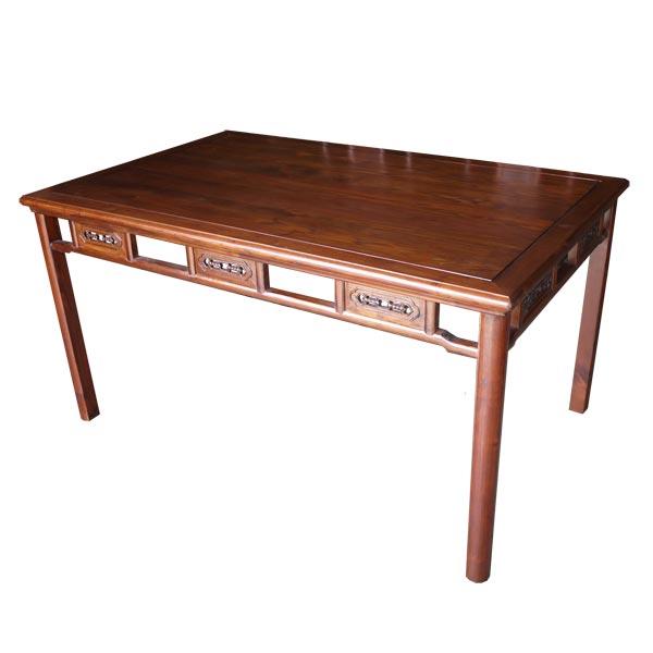 โต๊ะไม้จริงแต่งลายด้านข้างแบบจีน 150 ซม.