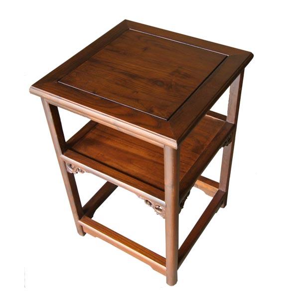 โต๊ะข้างไม้ 2 ชั้นแบบโปร่งแต่งลวดลายจีน 48 ซม.