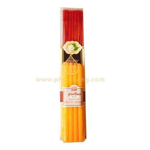 ชุดบูชาอริยมงคล (ชูดธูปเทียนอย่างดี)  Aromatic Incense Sticks + Premium Candles