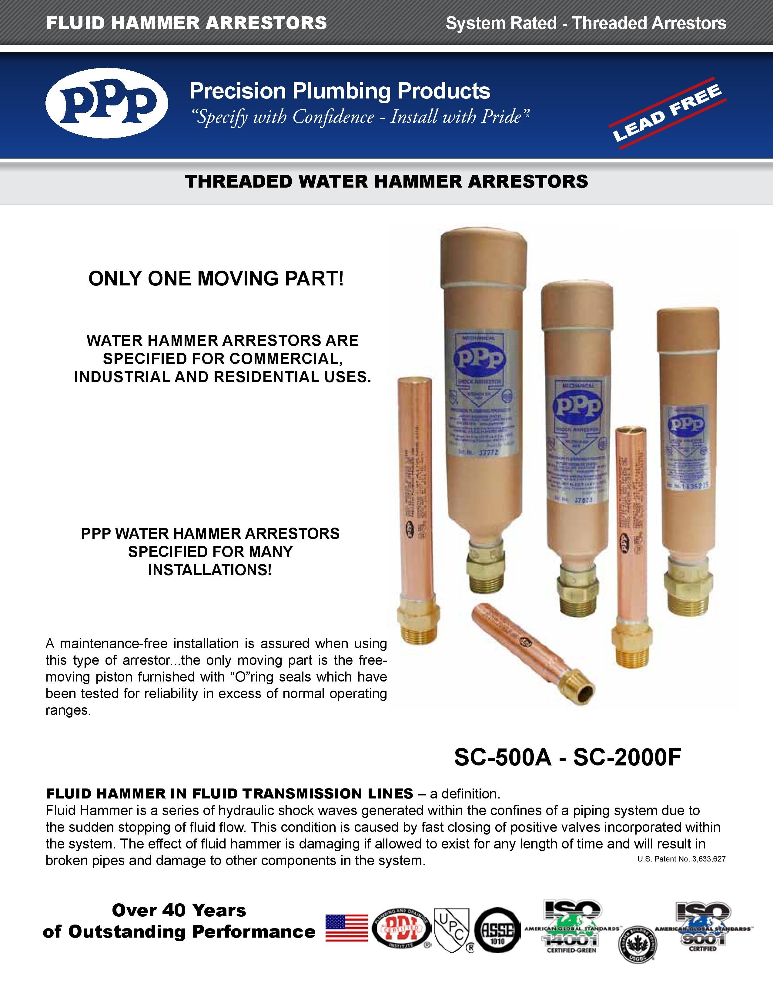 Water Hammer Arrestors PPP