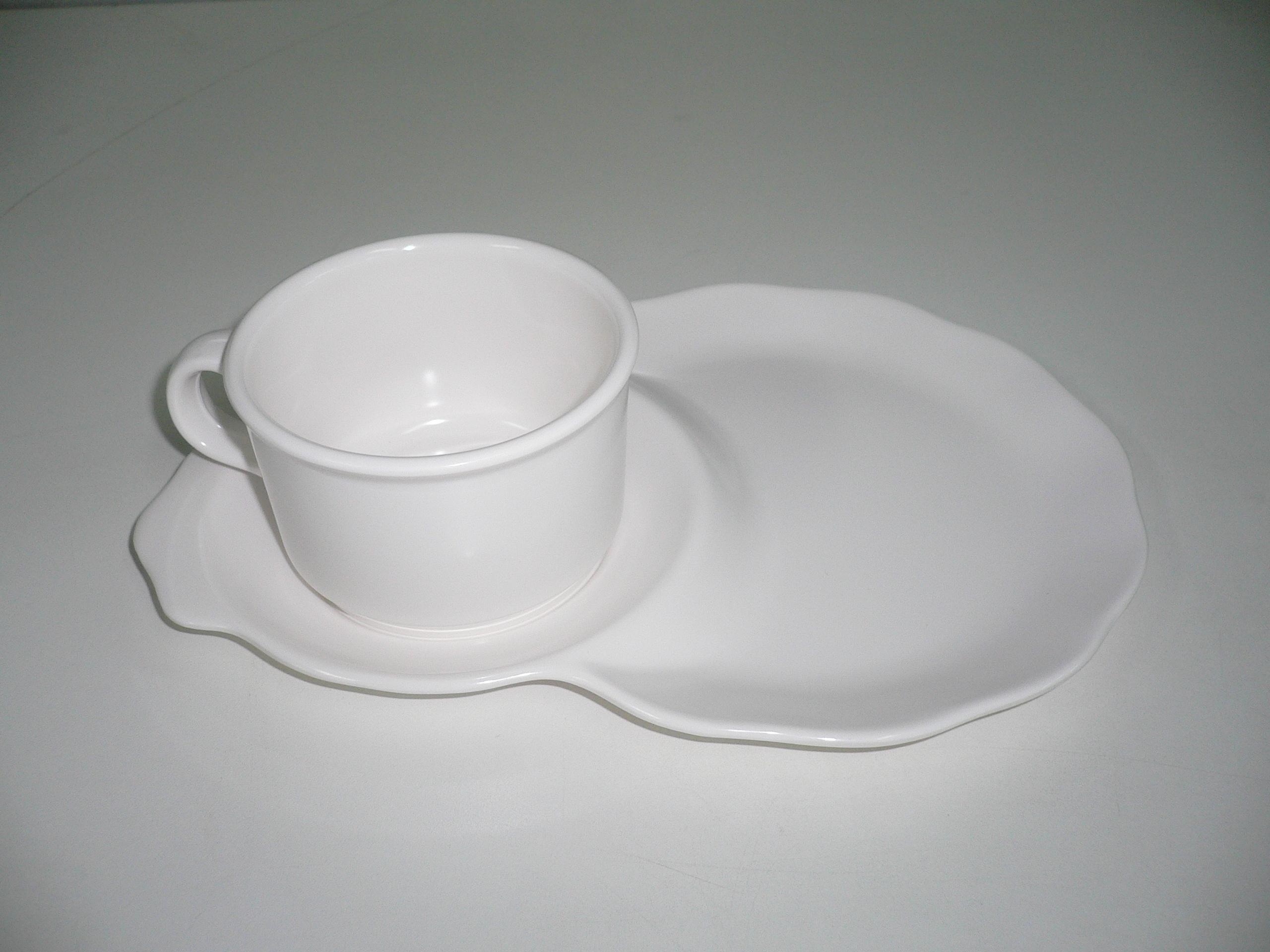 """ชุดอาหารว่างพร้อมถ้วยกาแฟ 9"""" (สีครีมขาว)"""