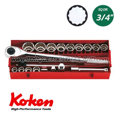 """6260A  บล็อกชุด 12P  (SQ.DR.3/4"""")  Socket Set"""