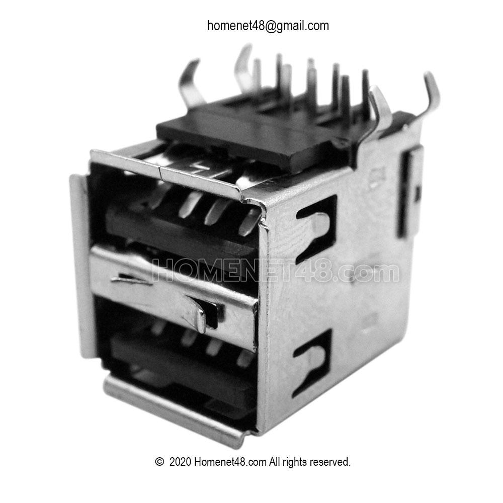 อะไหล่สำหรับเปลี่ยนซ่อม หัว USB ตัวเมีย 2 Ports (เฉพาะหัว) ขาฉาก 90 องศา (สีดำ)