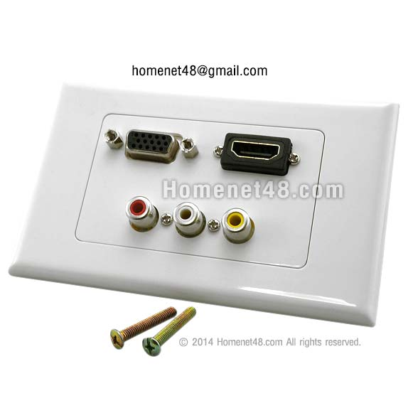 หน้ากากเต้ารับสาย HDMI+AV+VGA 3 in 1 (สี่เหลี่ยมผืนผ้า)
