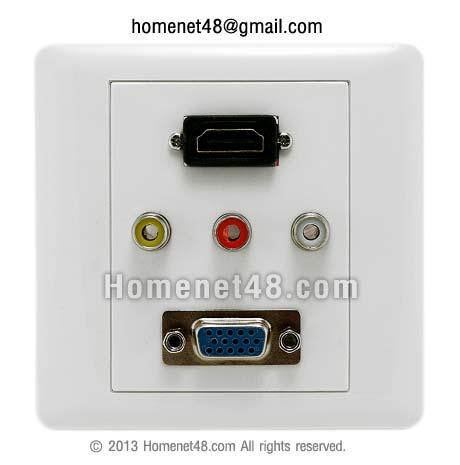 หน้ากากเต้ารับสาย HDMI+AV+VGA (สี่เหลี่ยมจัตุรัส) (บัดกรี VGA+AV)