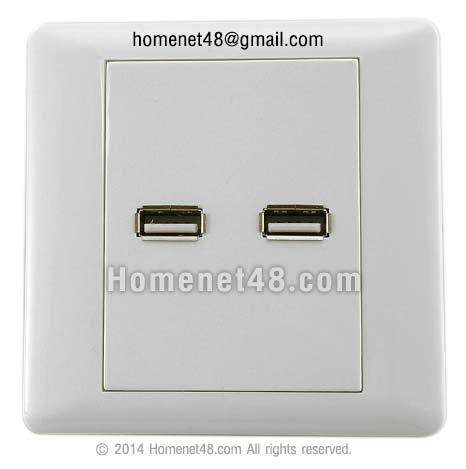 หน้ากาก เต้ารับ USB ตัวเมีย (F) 2 ช่อง (8.6 x 8.6 เซนติเมตร)