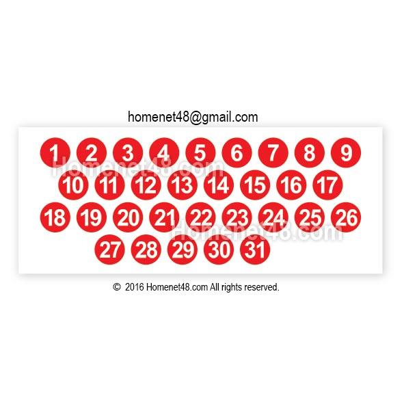 Sticker ตัวเลขวันที่ 1-31 วงกลม (1.5x1.5 ซม.)
