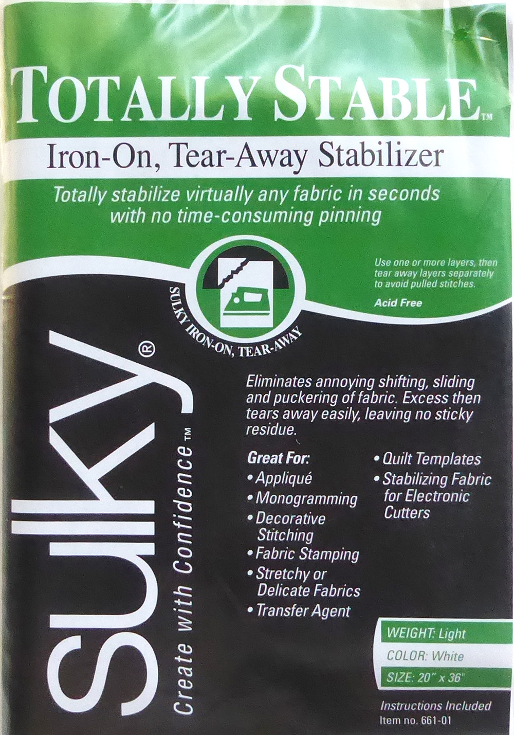 Sulky Totally Stable Iron-on, Tear-Away Stabilizer 1 Yard White