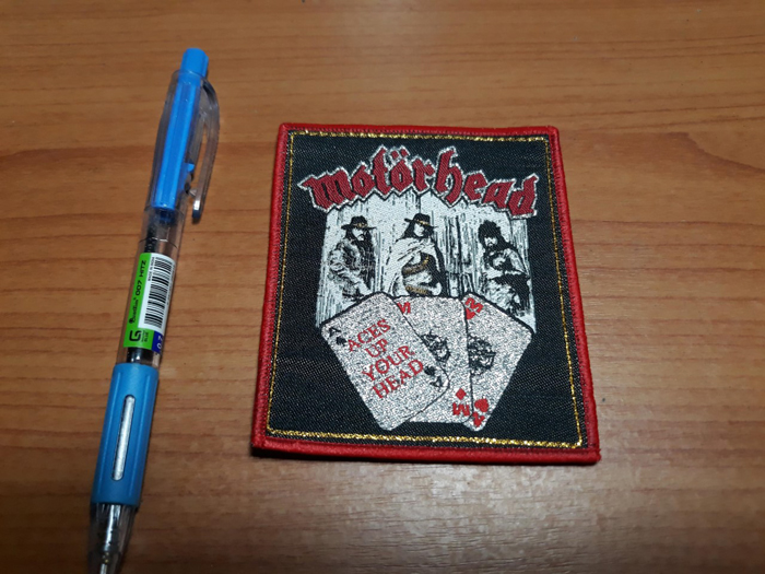 MOTORHEAD'Aces Up Ypur Head' Woven Patch.