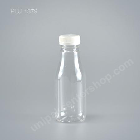 ขวดน้ำผลไม้ PET 250 cc เหลี่ยมเรียบ+ ฝาขาว ปาก 34 mm (15 g)