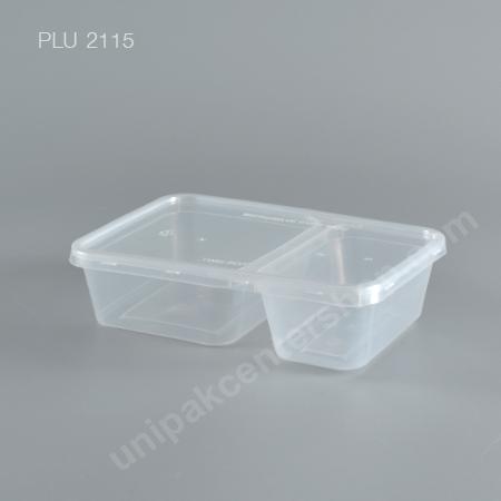 กล่องอาหาร PP ใส 2 ช่อง (AS322) ขนาด 500 ml  พร้อมฝา