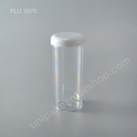 กระบอก แข็งใส 420 ml + ฝาขาว (Cylinder Hard Plastic Case) No.0775