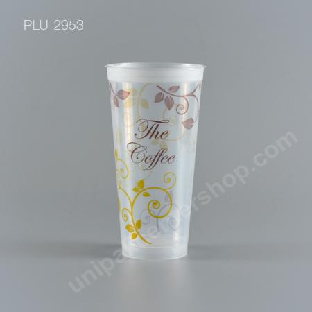 แก้ว น้ำดื่ม Rigid PP ใสแข็ง 22 oz. ปาก 90 mm. ลาย The Coffee