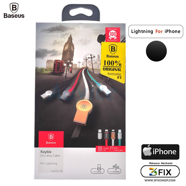 Cable Charger for iPhone 'BASEUS' (Keyble) 1 เมตร Black