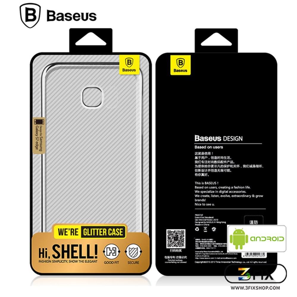 Case Baseus Samsung Galaxy S7 (เคสใส+ขอบสีประกายเงิน)