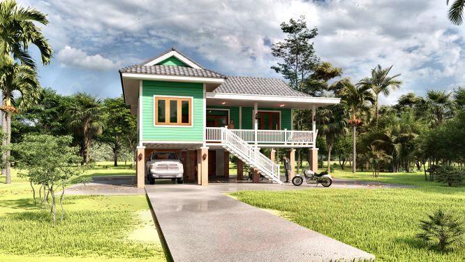 แบบบ้านยกพื้นสูงบ้านเกษตรสูงเนิน BluePrint-0076