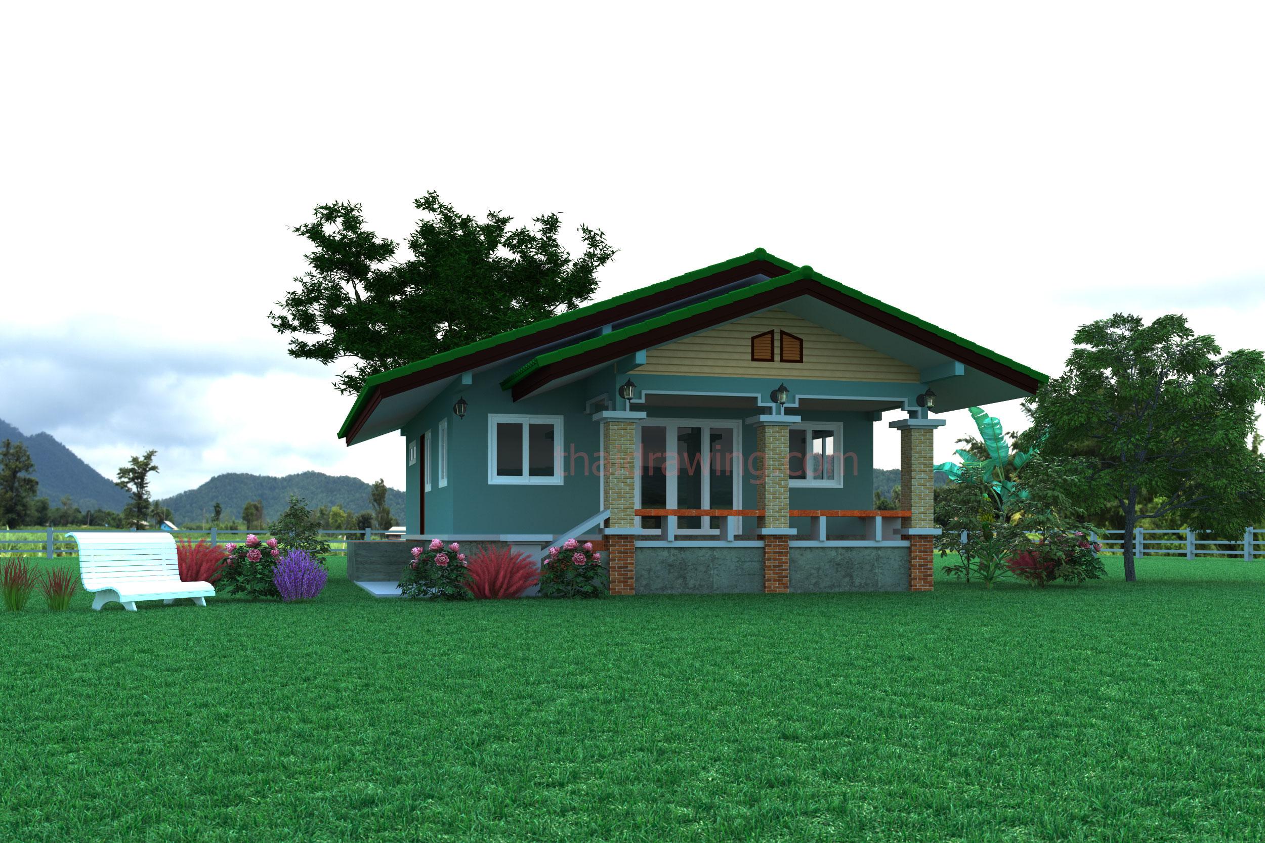แบบบ้านชั้นเดียวหลังคาจั่วเกษตรพวงแก้ว BluePrint-0135