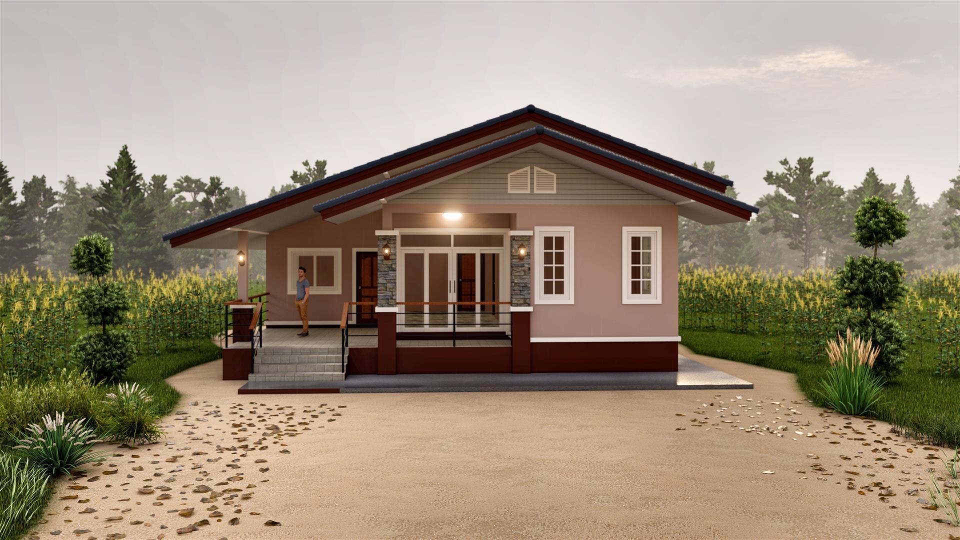 BluePrint-0116 แบบบ้านชั้นเดียวบ้านเกษตรยอดรัก