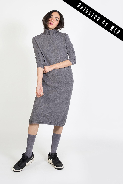 เดรสไหมพรมแคชเมียร์  Sweater Dresses  (with Split Turtleneck)  Selected  by WLS