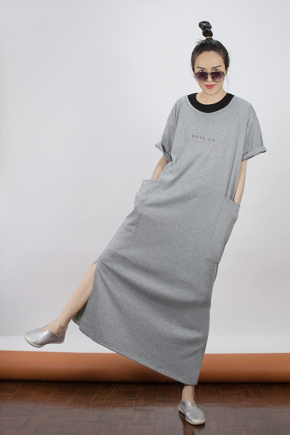 Move On Basic Poket Dress by WLS  (New Gray)