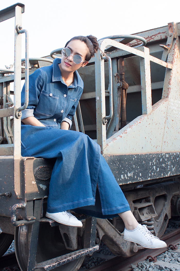 สตรีทแฟชั่น  Oversized Denim Shirt Maxi Dress By WLS