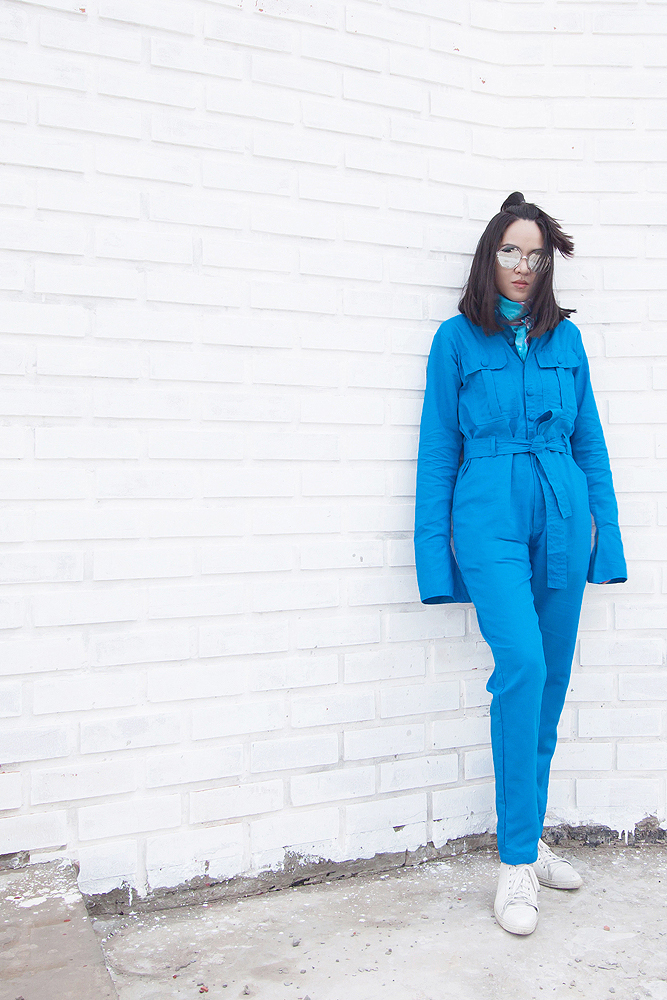 สตรีทแฟชั่น  Fresh Blue Oversized Jumpsuit by WLS