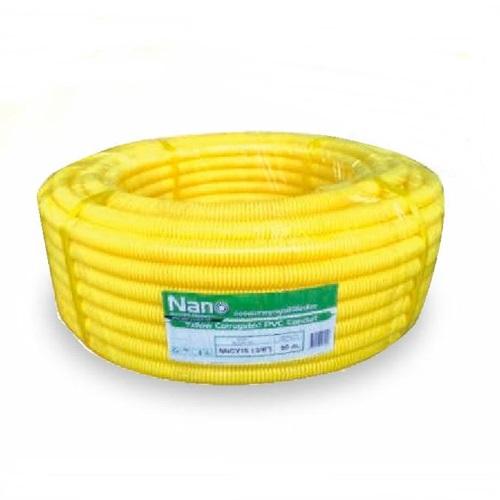 ท่ออ่อนพลาสติกร้อยสายไฟสีเหลือง (ท่อลูกฟูก) Nano