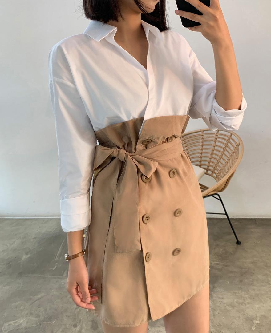 [CHUU] Shirt Layered Trench Dress