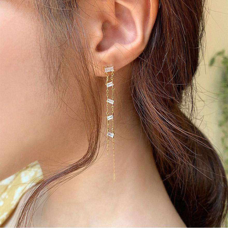 [CHUU] Five Cubic Drop Earring