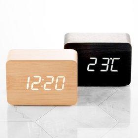 นาฬิกาตั้งโต๊ะ LED / 플라이토 우드 LED 직사각 탁상시계