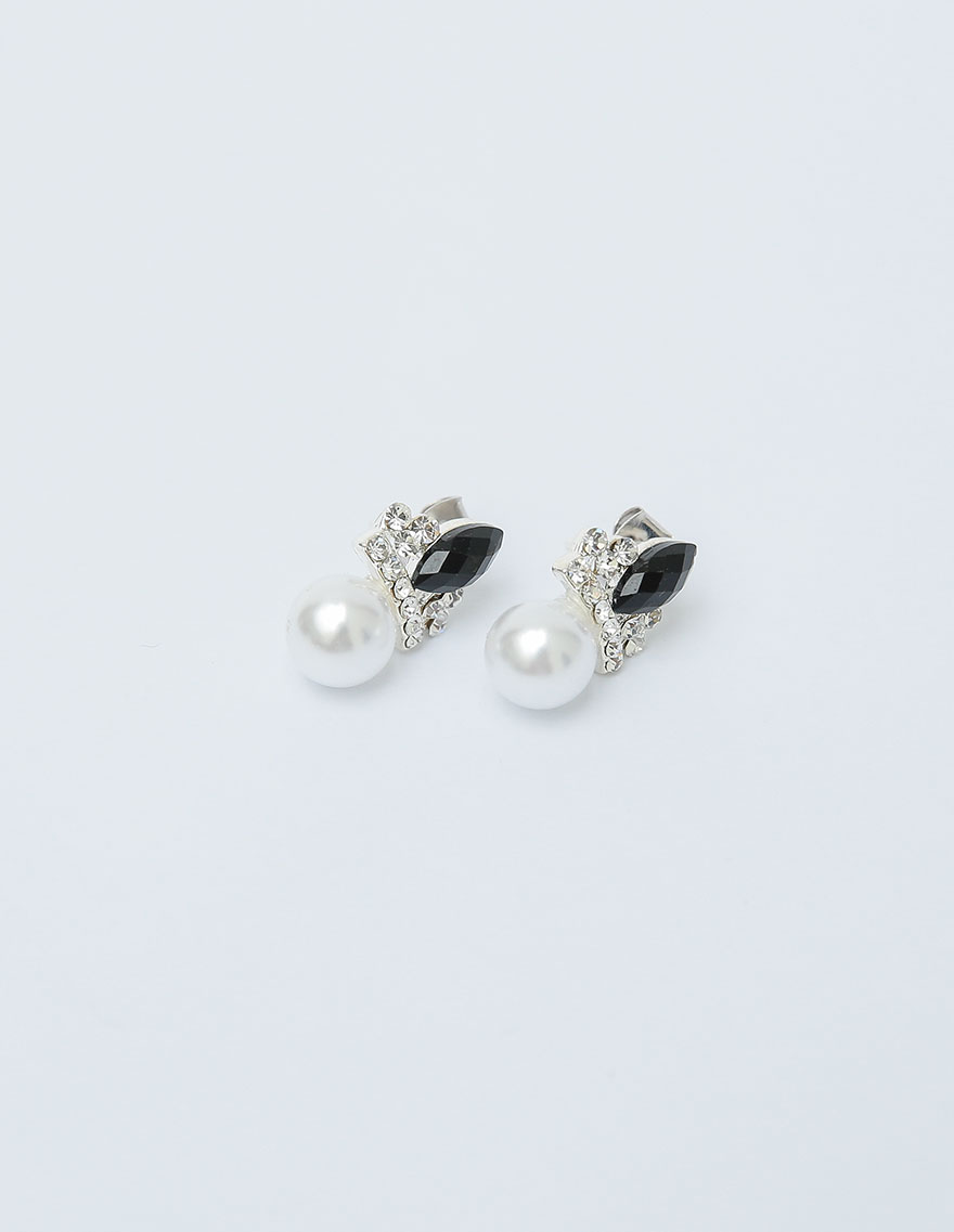 [CHUU]Black Point Pearl Earring