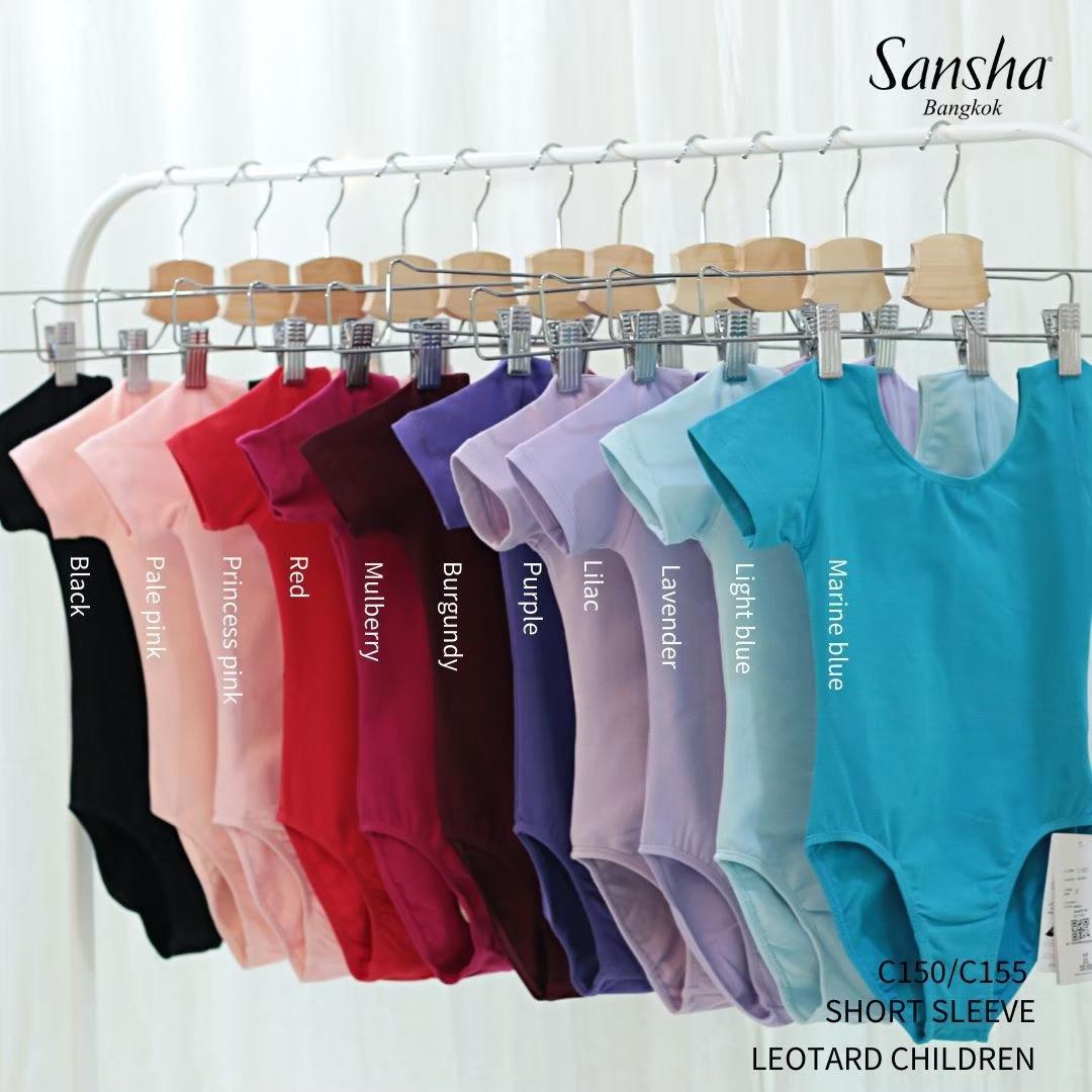 SANSHA ชุดบัลเล่ต์แขนสั้น ใส่เรียน-สอบ ผ้าคอตตอน ไลครา(ไม่รวมกระโปรง) C155