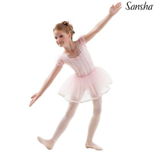 SANSHA ชุดบัลเล่ต์ทูทู่เด็ก แขนสั้นตุ๊กตา ตกแต่งสวยงาม #Y3801
