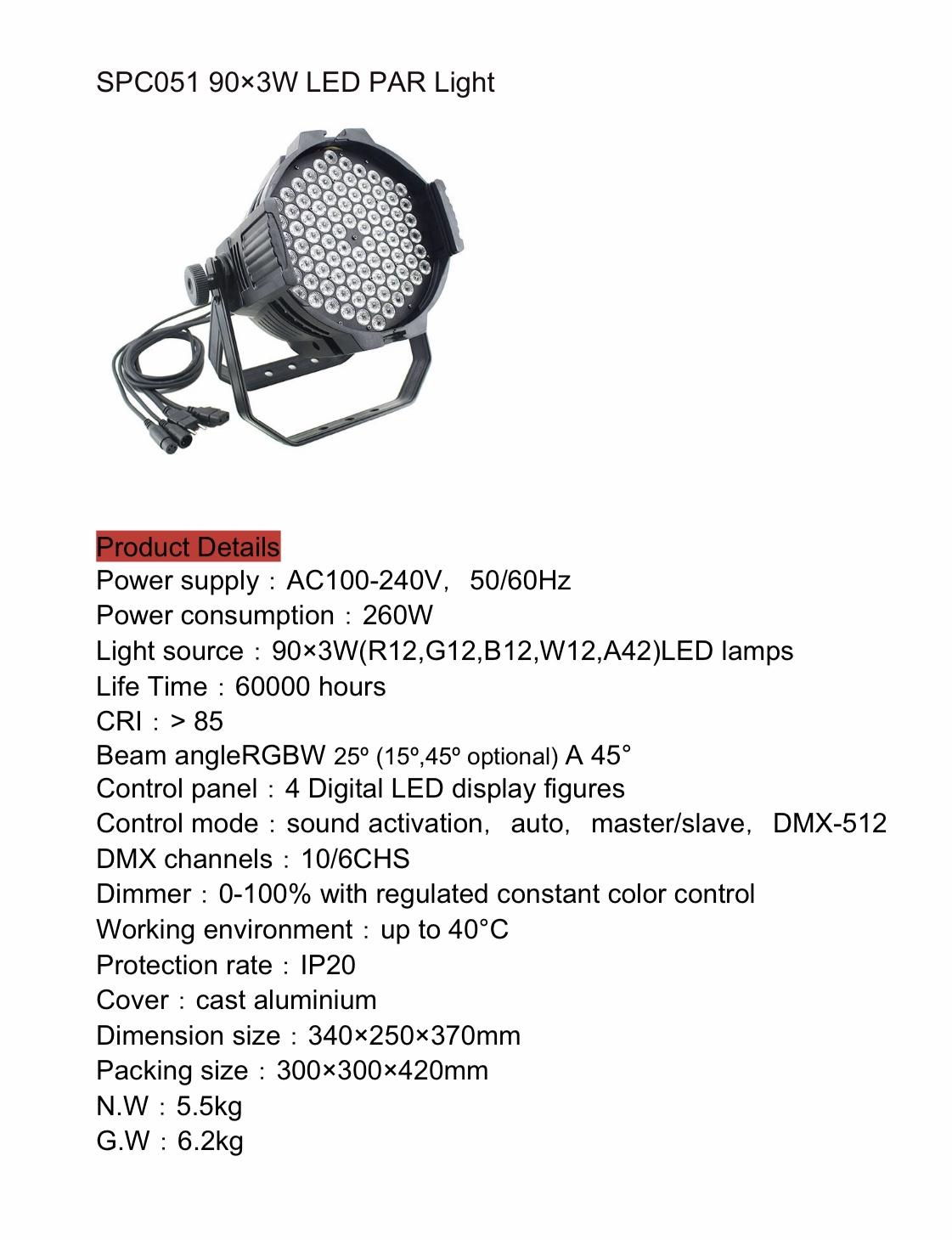 PAR LED SPC051 90x3w