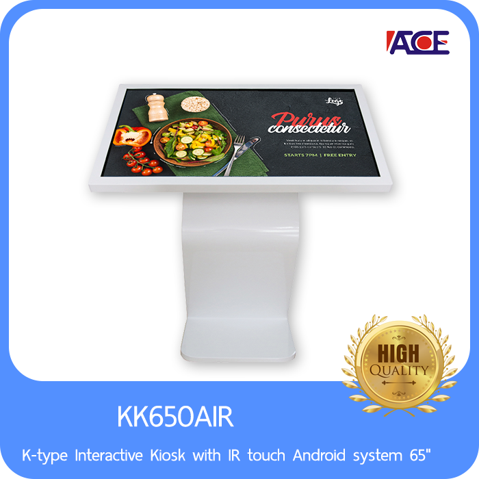 K-type Interactive Kiosk with IR touch Android system 65""