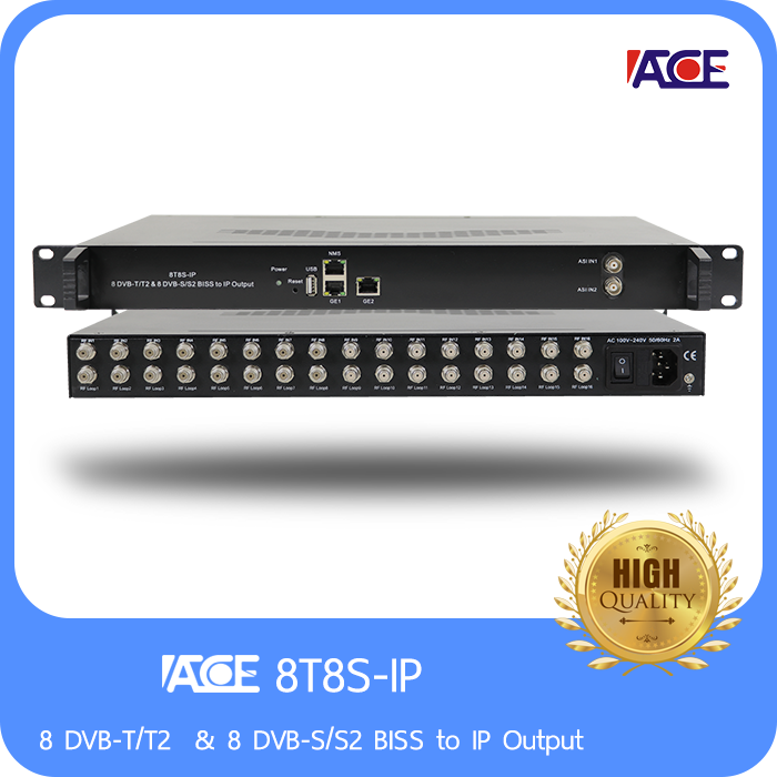 8 DVB-T/T2  & 8 DVB-S/S2 BISS to IP Output