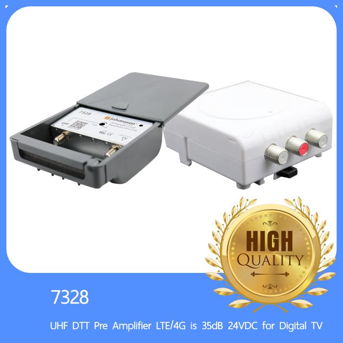 Johansson 7328 UHF DTT Pre Amplifier LTE/4G is 35dB 24VDC for Digital TV
