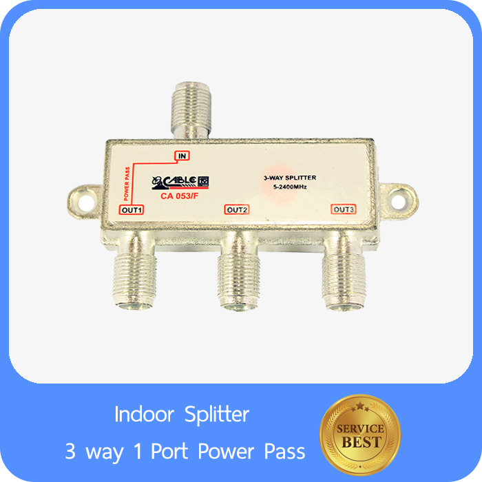 Indoor Splitter 3 way 1 Port Power Pass