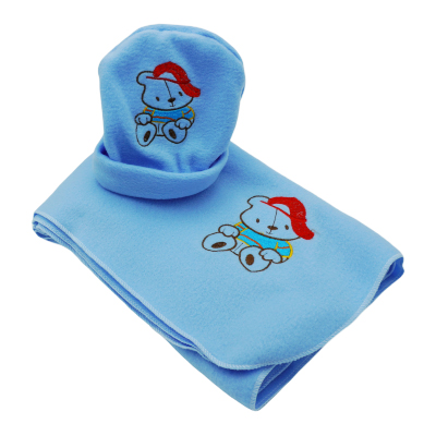 Baby fleece blanket with cap