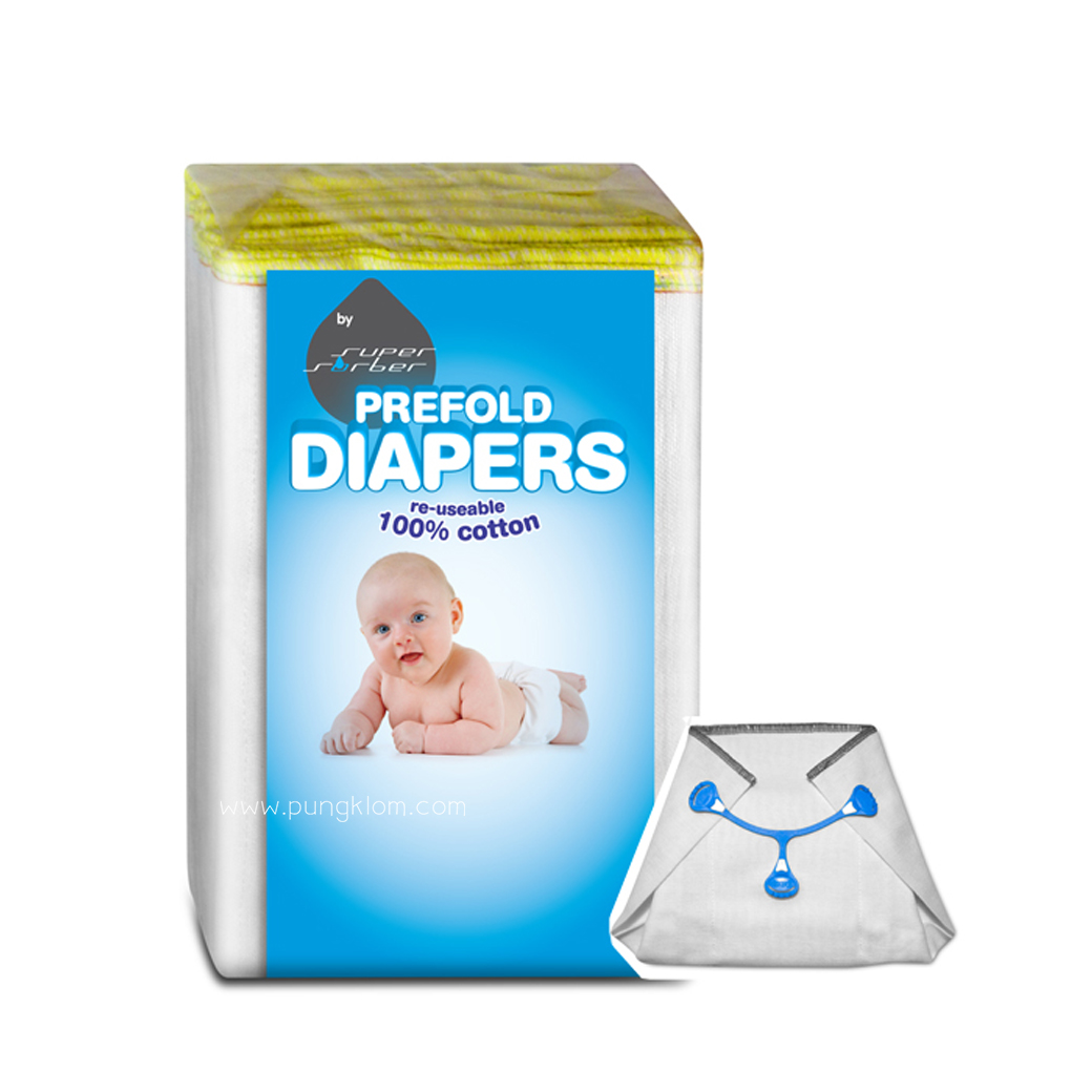 SUPERSORBER PRE-FOLD DIAPERS + Snappi 2 Pcs