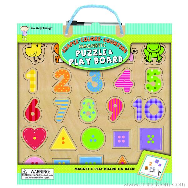 พัซเซิลไม้ แม็กเน็ต + บอร์ดติดแผ่นแม่เหล็ก Magnetic Puzzle - Shapes, Colors, Couning
