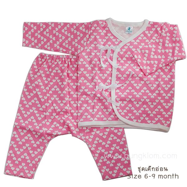 LOOK NOI - เสื้อป้ายผูกหน้า + กางเกงผ้ายืด โทนสีชมพู