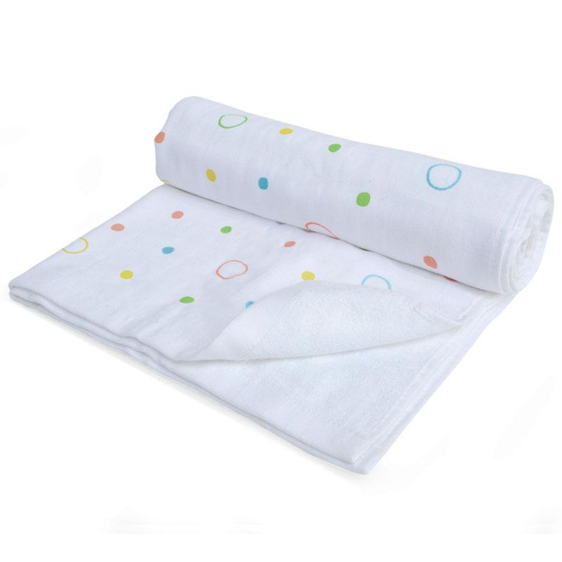 ผ้าเช็ดตัวใยไผ่+ผ้าสาลู สไตล์ญี่ปุ่น Nappi Baby-Polkadot