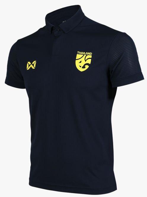 Thailand Elephant Skin National Team Thai Football Soccer Polo Jersey Shirt Navy Blue Player