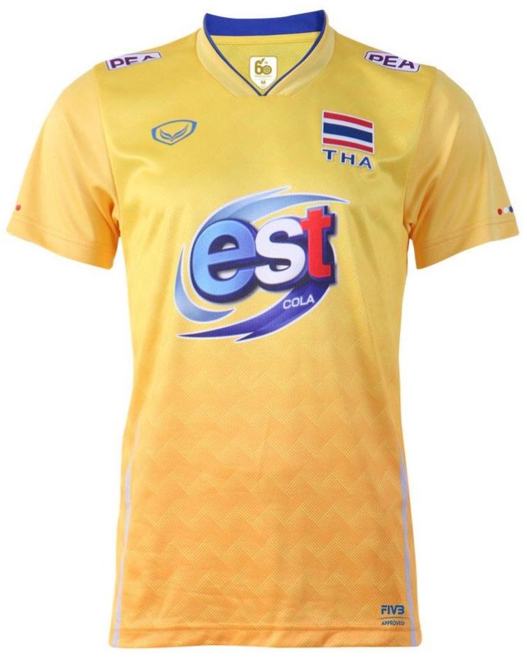 Thailand Volleyball National Team Volleyball Jersey Shirt Yellow