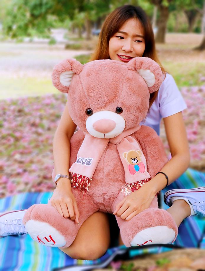 ตุ๊กตาหมีตัวใหญ่ MY LOVE พร้อมผ้าพันคอปักลายสุดน่ารัก ขนาด 1 เมตร