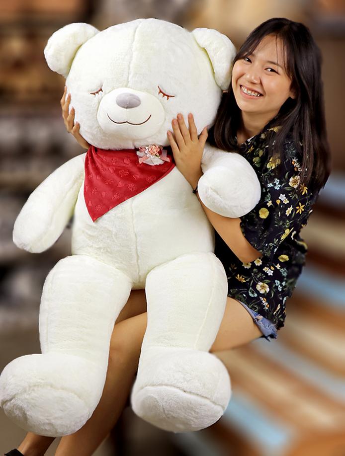ตุ๊กตาหมีตัวใหญ่ หมีหลับสลีปปี้ ผูกผ้าพันคอสีแดง น่ารักมาก ขนาด 1.3 เมตร